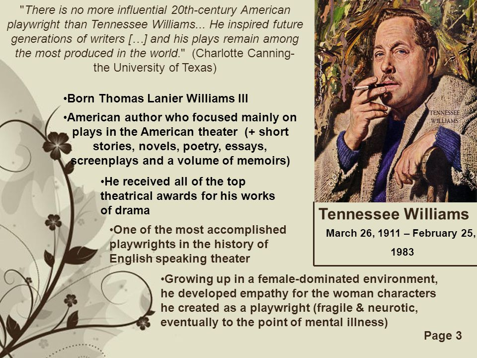 a streetcar d desire ppt video online  there is no more influential 20th century american playwright than tennessee williams